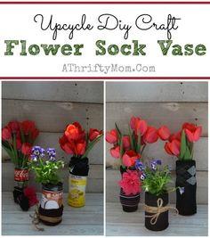 Upcycle Diy Flower Sock Vase ~ Kids craft perfect for Mother's Day - Upcycled Crafts Upcycled Crafts, Easy Diy Crafts, Diy Craft Projects, Craft Ideas, Mothers Day Crafts For Kids, Crafts For Kids To Make, Kids Diy, Kids Crafts, Flower Crafts