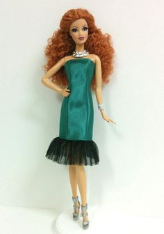 Green Satin Dress for Model Muse Barbie by SKSungDesigns on Etsy