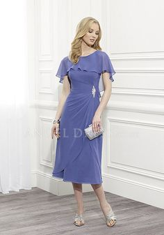 Glamorous Chiffon Asymmetric Waist A line Bateau Mother of the Bride Gown