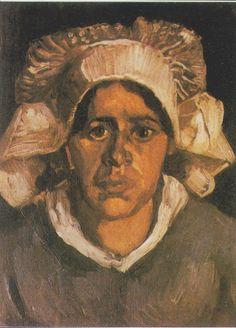 Van Gogh - Kopf einer Bäuerin mit weißer Haube, 1885