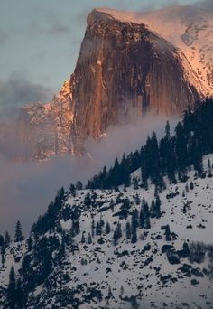 Winter Sunset on Half Dome Yosemite National Park, California,. (Travel This World) Places To Travel, Places To See, Winter Sunset, Winter Snow, Parcs, Adventure Is Out There, Beautiful Landscapes, Wonders Of The World, Nature Photography