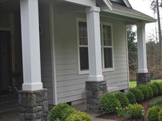 Front Porch Columns with grey paint
