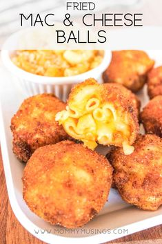 Fried Mac and Cheese Balls are a decadent party appetizer! Use leftover macaroni and cheese to make these tasty mac and cheese bites. #appetizers #partyappetizers #macandcheese #friedfood #macaroniandcheese #cheese