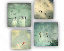 Birds on Wire Laundry Room Set Photo Art Gallery Wrap Canvas Art Set Pastel Green Blue Cream Bird Silhouettes Flying Birds Canvas Wall Decor