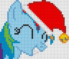 Rainbow Dash Jingle Hat perler bead pattern