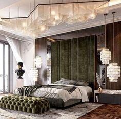 Modern Luxury Bedroom, Master Bedroom Interior, Luxury Bedroom Design, Bedroom Furniture Design, Bedroom Green, Home Room Design, Master Bedroom Design, Luxurious Bedrooms, Home Interior Design