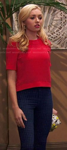 Emma's red top and checked jeans on Jessie.  Outfit Details: http://wornontv.net/47352/ #Jessie