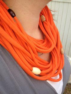 Tee Shirt Scarf  Orange TShirt Scarf Beaded by GoScarfYourself.etsy.com