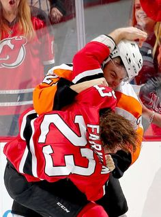 Fight night in Jersey: Scott Laughton, facing, of the Philadelphia Flyers and Bobby Farnham of the New Jersey Devils fight during a game on Dec. 4 in Newark, N. The Flyers won in overtime. Hockey Girls, Hockey Mom, Ice Hockey, New Jersey Devils, Fight Night, Philadelphia Flyers, Sports Fights, Nhl Season, Tyler Seguin