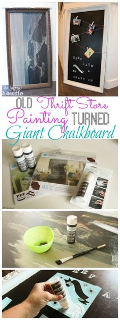 Old Thrift Store Painting Turned Giant Chalkboard at thehappyhousie.com - How to make a chalkboard surface and sign with New Martha Stewart Crafts® Chalkboard Paint Colors and Erasable Liquid Chalk in @MichaelsStores #plaidcrafts #marthastewart #marthastewartcrafts