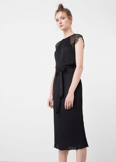 Lace pleated dress - Dresses for Women | MANGO USA