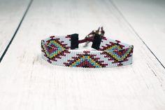 -Pulsera de telar de grano - nativos americanos para mujer pulsera - pulsera ajustable del grano de semilla tribal
