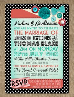 Blog Version Motown 1950s Rockabilly Turquoise Red Polka Dot Retro Vintage Wedding Invitation Stationery by In the Treehouse