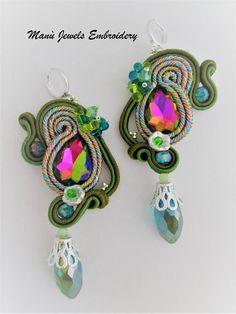 orecchini soutache multicolor di ManuJewelsEmbroidery su Etsy