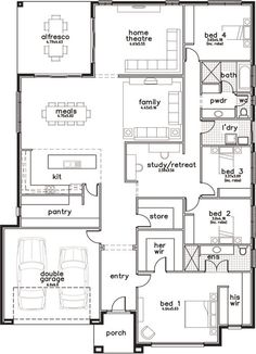 Change study into full bath for bed 2 & change weird bathroom into ensuite for bed 4 Best House Plans, Dream House Plans, House Floor Plans, The Plan, How To Plan, Building Plans, Building A House, 4 Bedroom House Plans, Home Design Floor Plans