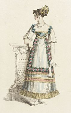 Fancy Ball Dress, published in Ackermann's Repository of Arts, August 1820 1800s Fashion, 19th Century Fashion, Victorian Fashion, Vintage Fashion, Medieval Fashion, French Fashion, Regency Dress, Regency Era, Victorian Fancy Dress