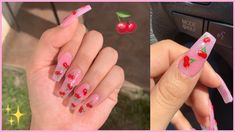 Cherries Nail Vlog Getting My Nails Done Learning About MMA Romina Vasquez Summer Acrylic Nails, Best Acrylic Nails, Summer Nails, Coffin Nails Designs Summer, French Tip Acrylic Nails, Cherry Nails, Aycrlic Nails, Pink Tip Nails, Blue Coffin Nails