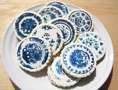 Delft Blue Porcelain Cookies - link has links for buying items & link for step by step how to make them!