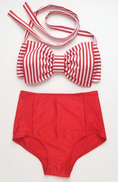 Red Stripe Lycra Swim Fabric Mix and Match Sets by amourouse, $115.00