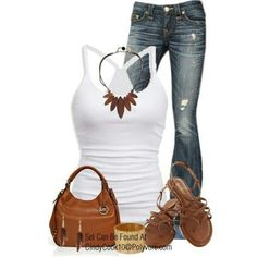 Casual. White top. Jeans