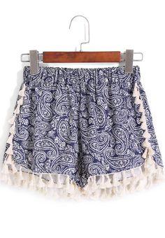 Blue Elastic Waist Cashew Print Tassel Shorts