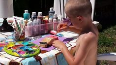 Being creative with colors and designs allows them to express themselves. When it's nice outside we always paint outside. The paint dries fast, don't worry about spills and it's some good extra vitamin D. **Note: boys painting with out shirts. The boys love to paint wood projects, paper, canvases, shirts ect. They use paint brushes, sponges, fruits, veggies, car tires, dinosaur feet, whisk, ect to create fun designs with mazing colors. @simpleobsessions #BOYMOM
