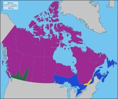 Canada divided into five regions with similar big populations