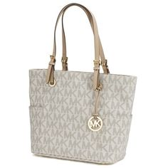 Michael Kors Jet Set Travel Large East/West Vanilla Tote Bag ($198) ❤ liked on Polyvore featuring bags, handbags, tote bags, leather zip tote, leather travel tote, leather tote bag, michael kors handbags and white leather handbags