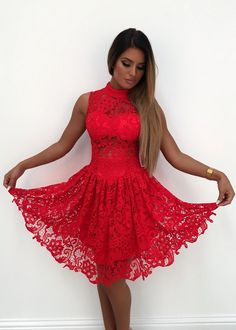5f530d411a  Fit  amp  Flare  Crochet Lace Skater Dress - Red Little Red Ridding Hood.