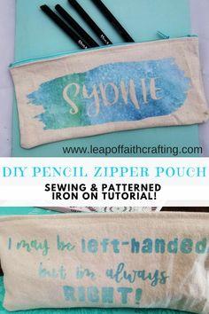 Easy DIY zipper pouch tutorial to use for pencil cases or makeup! #cricutmade #diy