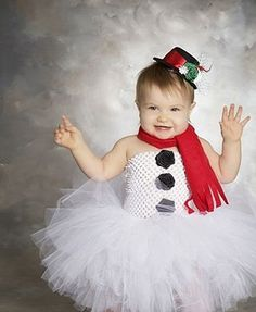 White baby girl Christmas tutu dress outfit with top hat and scarf set ala Frosty the Snowman.