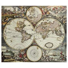Land and Sea World| Removable Map Wall Decals| WallsNeedLove