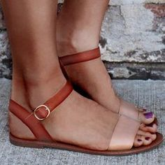 81ae6f90cf3aaf Shop Stylish Strappy Casual Flat Sandals - Brown right now