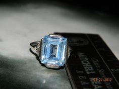 Ring Vintage Ring Silver Blue Topaz Ring by Ellealieu on Etsy, $50.00