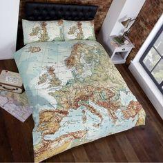 Globe Map Vintage Double Duvet Set