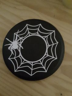 Spooky Spider Web Wooden Candle Mat Vinyl Design Festive Halloween Holiday Table Home Decor Holder Black White Day Of Dead Party Supplies  What is Halloween without spooky spiders and spider...@ artfire