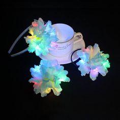 LED Light up Flower hair band set for Festivals - LED hair accessory - Dongguan Duosen Hair Accessory Co.,LTD