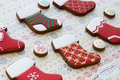 Royal Frosting, Royal Icing Cookies, Sugar Cookies, Christmas Stocking Cookies, Christmas Stockings, Cut Out Cookies, Cute Cookies, Desserts Menu, Christmas Baking