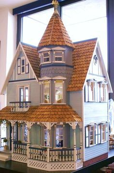 blue Victorian dollhouse (there was a hobby shop nearby when I was young, they sold many dollhouse kits, I always dreamed of having one of the grand Victorian models) Victorian Dollhouse, Victorian Dolls, Diy Dollhouse, Dollhouse Furniture, Dollhouse Miniatures, Fairy Houses, Play Houses, Doll Houses, Miniature Houses