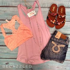 This new outfit is perfect for this beautiful weather!  Purple tank $14.99 small-large Lace bra top $21.99 Big star shorts $98.00 Sandals $18.99 Necklace $16.99 #bedazzledokc