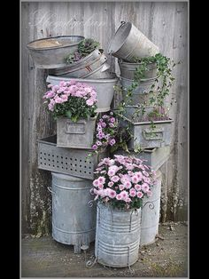 Galvanized containers for the rustic look.