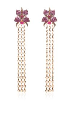 Detachable Cascading Floral Long Earrings by Wendy Yue for Preorder on Moda Operandi