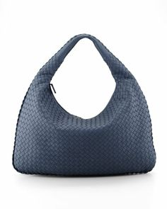 Intrecciato Large Hobo Bag, Blue by Bottega Veneta at Neiman Marcus.