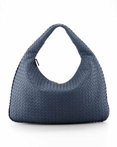 Bottega Veneta Intrecciato Large Hobo Bag, Blue