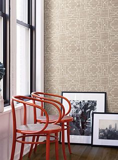 GE3661 Irongate Trellis Oriental Faux Grasscloth Geometric Trellis Wallpaper #York
