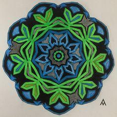 ✳️ Salud/Health 🌀 Tranquilidad/Tranquility 👁🗨 Constancia/Constancy Mandala, Mandalas, Pintando mandalas, Painting mandalas, Verde, Green, Azúl, Blue, Negro, Black, Color, Colores, Colors, Mandalas para el alma, Mandalas para el alma 2