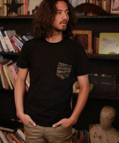 CAMBIO(カンビオ)のmt2666-タイガーカモ×ペイズリー ポケットTシャツ(Tシャツ/カットソー)|ブラック