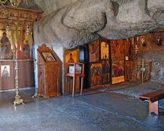 The Cave of Apocalypsis on Patmos island. Orthodox Icons, Holy Spirit, Egypt, Greece, Faith, Island, Painting, Caves, Quotes