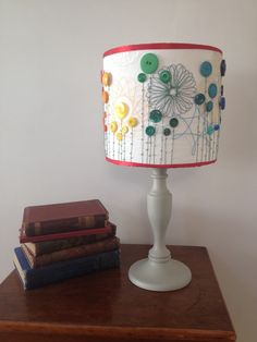 Rainbow drum lampshade, stitched with spirograph and button detail - pinned by pin4etsy.com
