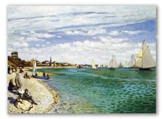 Regata Sainte Adresse by Claude Monet. Summer Painting. Painting Idea for Walls. 100% Hand-Painted, Oil on canvas! Custom Paintings.